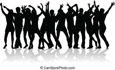 Eine große Gruppe junger Leute, die tanzen.