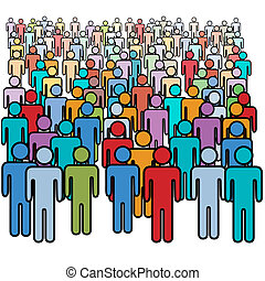 Eine große Menge von vielen Farbigen, die Gesellschaft