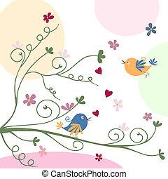 Eine Grußkarte mit Vögeln