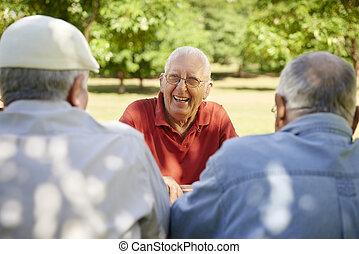 Eine Gruppe älterer Männer, die im Park Spaß haben und lachen