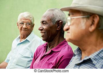 Eine Gruppe alter schwarzer und weißer Männer, die im Park reden
