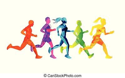 Eine Gruppe laufender Männer und Frauen