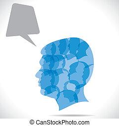 Eine Gruppe Menschen in menschlichem Kopf