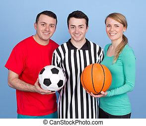 Eine Gruppe mit Sportbällen