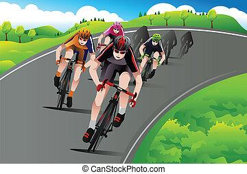 Eine Gruppe Radfahrer rast