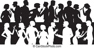Eine Gruppe sprechender Menschen