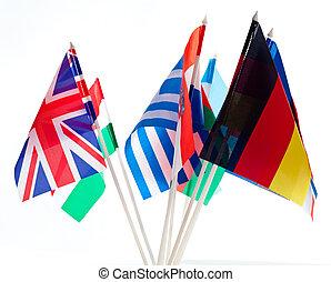 Eine Gruppe verschiedener Flaggen der Welt
