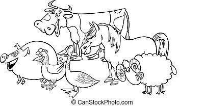 Eine Gruppe von Cartoon-Farmtieren zum Malen