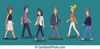 Eine Gruppe von Cartoon-Geschäftsleuten.