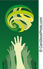 Eine Gruppe von erhobenen Händen mit einem weltweiten Ikone über ihnen