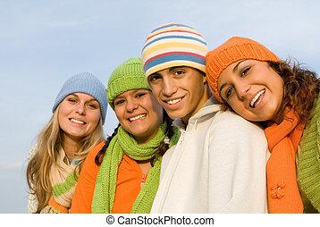 Eine Gruppe von fröhlichem Lächeln, Jugend