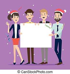 Eine Gruppe von Geschäftsleuten, die zu Weihnachten an Bord sind.