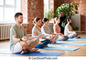 Eine Gruppe von Leuten, die Yogaübungen im Studio machen.