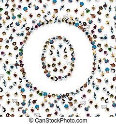 Eine Gruppe von Leuten Englisch Alphabet Buchstabe O.