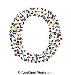 Eine Gruppe von Leuten in der Form des englischen Alphabets Buchstabe O auf hellem Hintergrund. Vector Illustration.
