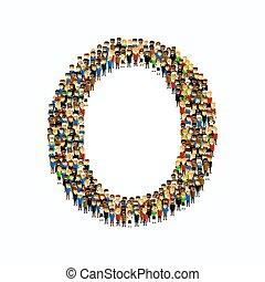 Eine Gruppe von Leuten in englischer Alphabet Buchstabe O.