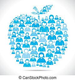 Eine Gruppe von Menschen macht Apfelform