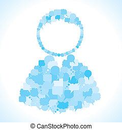 Eine Gruppe von Nachrichtenblasen macht Benutzer.
