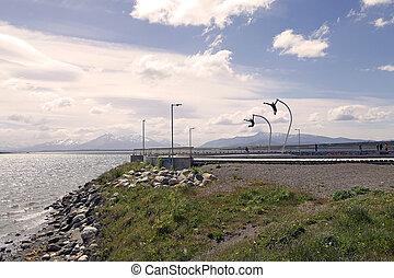 Eine Hommage an den Wind in puerto natales in Patagonien, Chile