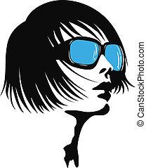 Eine junge Dame mit Sonnenbrille