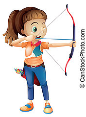 Eine junge Frau, die Bogenschießen spielt.