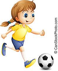 Eine junge Frau, die Football spielt.