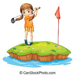 Eine junge Frau, die Golf spielt.