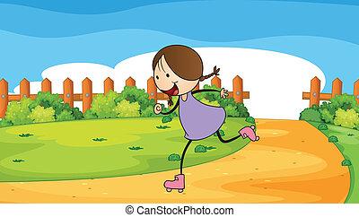 Eine junge Frau Rollschuhlaufen.