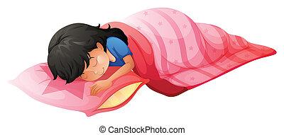 Eine junge Frau schläft.