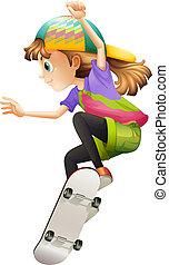 Eine junge Frau Skateboarden.