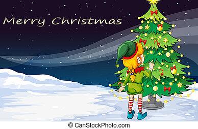 Eine Karte mit einem Elf, der auf den Weihnachtsbaum schaut