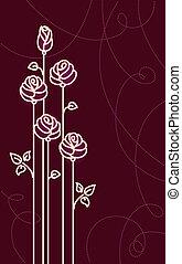 Eine Karte mit stilisierten Rosen. Vektorgrafik