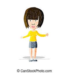 Eine Kartoon-Frau, die Schultern streift.