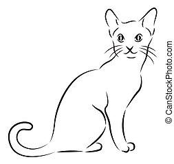 Eine Katze, isoliert auf weiß.
