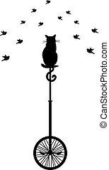 Eine Katze mit Vögeln