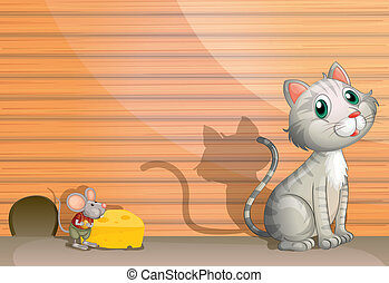 Eine Katze und eine Ratte mit Käse.