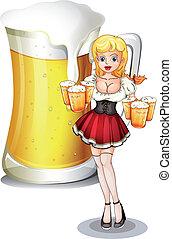 Eine Kellnerin mit sechs Tassen Bier