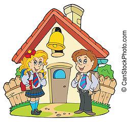 Eine kleine Schule mit Kindern in Uniformen