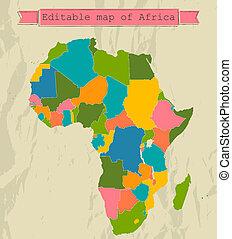 Eine Landkarte Afrikas mit allen Ländern.