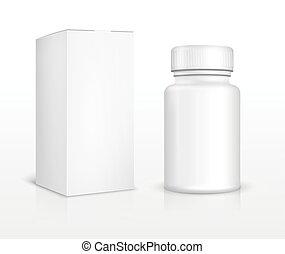 Eine leere Medizinflasche und eine Packung