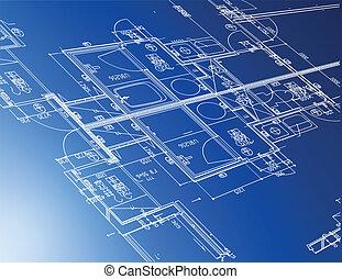 Eine Menge architektonischer Baupläne