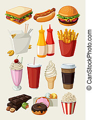 Eine Menge farbiger Cartoon Fast Food i