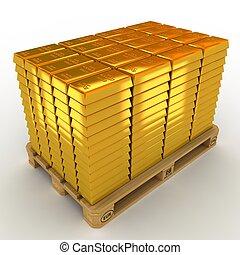 Eine Menge Gold Bars auf der Palette.