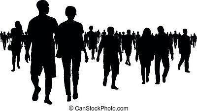 Eine Menge Leute gehen Silhouette.
