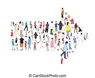 Eine Menge Leute. Kinder, Erwachsene, Senioren. Vector Illustration