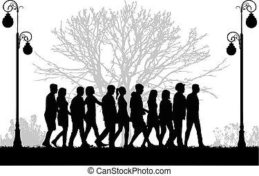 Eine Menge Leute laufen.