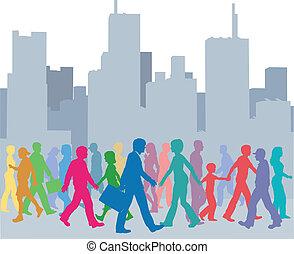 Eine Menge Menschenfarben laufen in der Stadt