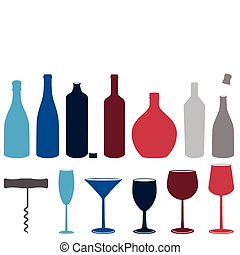 Eine Menge Schnapsflaschen und Gläser.