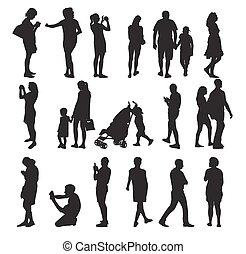 Eine Menge Silhouette-Leute. Vector Illustration.