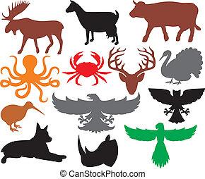 Eine Menge Tiere Silhouetten.